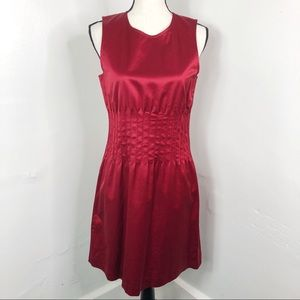 Theory Crimson Red Pleated Middle Brynne Dress